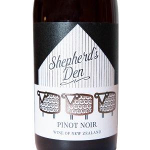 nový zéland Shepherds Den Pinot Noir etiketa