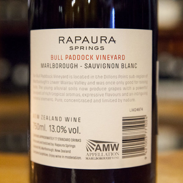 rapaura springs Sauvignon Blanc Bull Paddock Vineyard zadna etiketa
