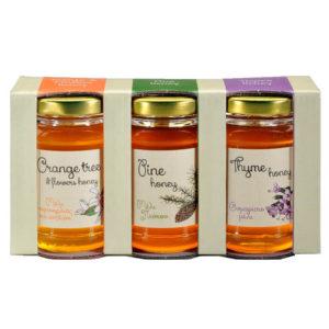 Set gréckych medov – píniový, tymianový a pomarančový med