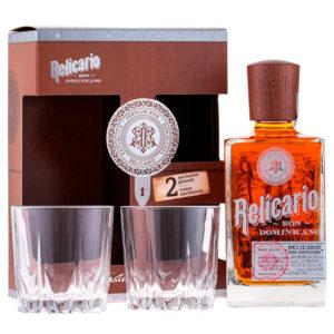 Relicario Ron Dominicano Superior 0,7l 40% GB + 2 poháre
