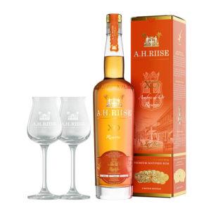 A.H. Riise XO Ambre d'Or 0,7l 42% GB1 + 2 poháre