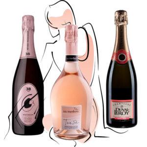 3 odtiene ruzovej bubliny prosecco sekt a champagne ruzove sampanske