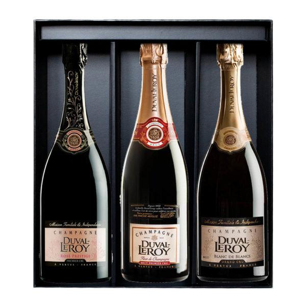 Duval-Leroy Darčekové 3-balenie Champagne Prestige Rosé, Prestige Blanc de Blancs, Classic Fleur de Champagne balenie